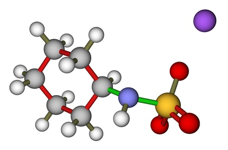 sugar metabolism: Sweetener sodium cyclamate 3D model Stock Photo