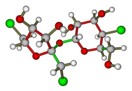 sugar metabolism: Sweetener sucralose molecule Stock Photo