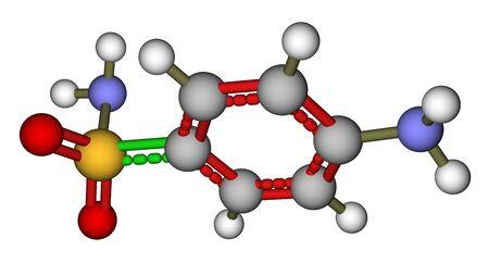 antimicrobial: Antibiotic sulfanilamide molecular model Stock Photo