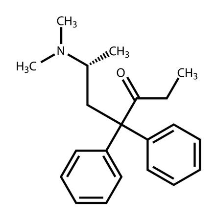 中毒性の: Methadon 構造式