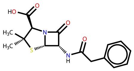 Penicillin G (benzylpenicillin) structural formula Vector