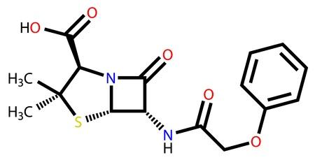 penicillin: Structural formula of penicillin V (phenoxymethylpenicillin)
