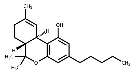 tetrahydrocannabinol: Structural formula of Tetrahydrocannabinol (THC), the psychoactive constituent of the cannabis plant Illustration
