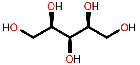 non vegetarian: Structural formula of sweetener xylitol