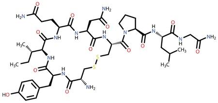 """niples: La oxitocina """"hormona del amor"""", f�rmula estructural"""
