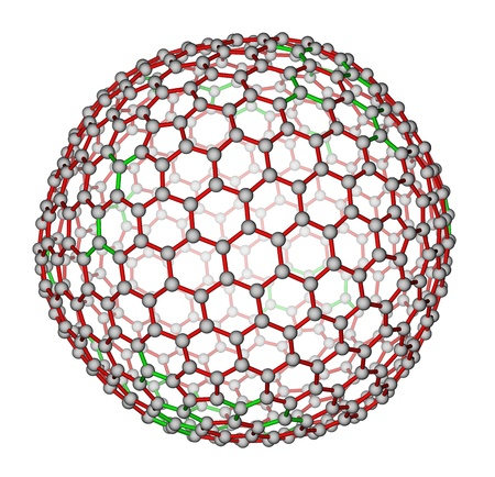 superconductivity: Nanocluster fullerene C540 molecular structure Stock Photo