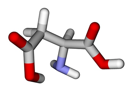 Amino acid aspartic acid 3D molecular model photo