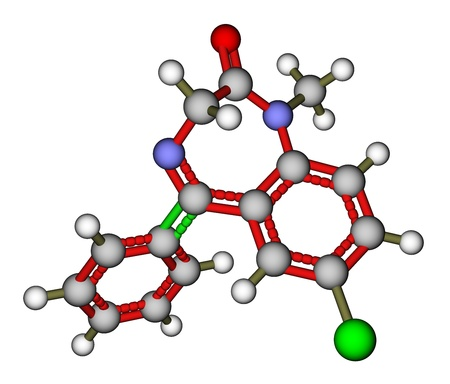 Medication diazepam molecular structure Stock Photo