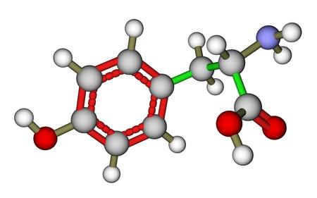 tyr: Amino acid tyrosine  molecular structure Stock Photo
