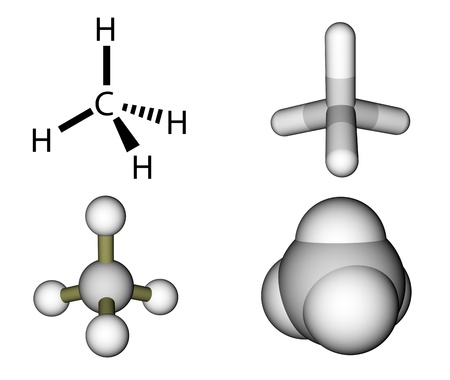 covalent: Methane structural formula and molecular models isolated on a white background