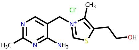 b1: Thiamine (vitamin B1) structural formula Illustration