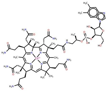 La vitamina B12 (cobalamina) la fórmula estructural