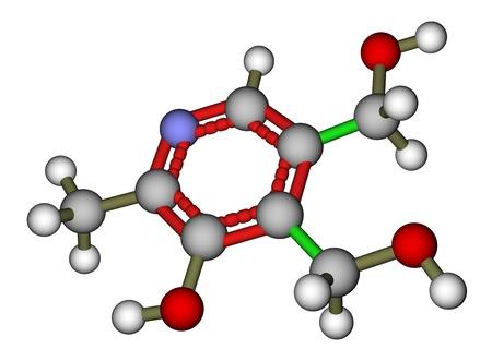 hydrochloride: Pyridoxine (vitamin B6) molecular structure Stock Photo