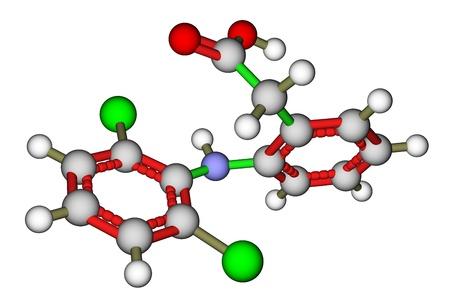 Diclofenac, a non-steroidal anti-inflammatory drug. Molecular structure Stock Photo - 13005645