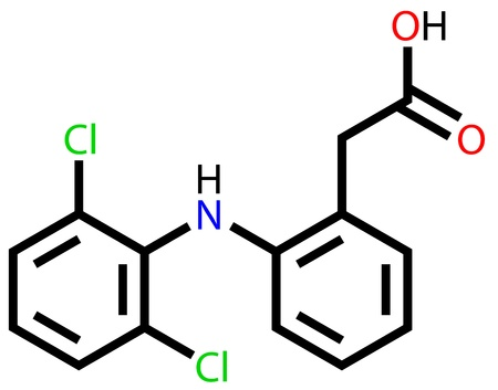 osteoarthritis: Diclofenac, a non-steroidal anti-inflammatory drug. Structural formula Illustration