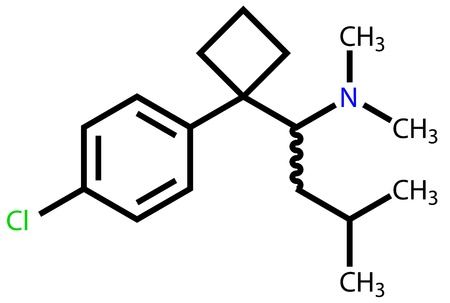 Sibutramine (oral anorexant, obesity treatment) structural formula Vector