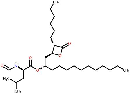 morbid: Orlistat (obesity treatment drug) structural formula Illustration