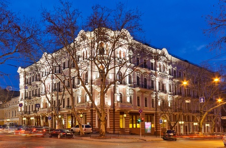 Bristol Hotel in Odessa, Ukraine at night Stock Photo - 13096500