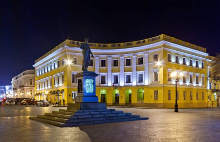 duke: Duke of Richelieu monument in Odessa, Ukraine at night
