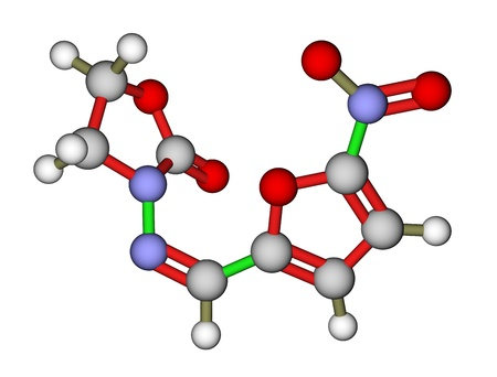 enteritis: Antibacterial furazolidone molecular structure Stock Photo