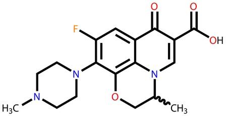 bactericidal: Antibiotic ofloxacin structural formula