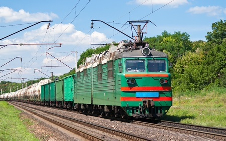 Electric locomotive pushing a cargo train in Ukraine Stock Photo - 13272466