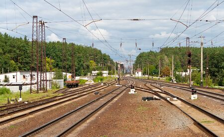 View of railroad station in Kyiv region, Ukraine Stock Photo - 13272496