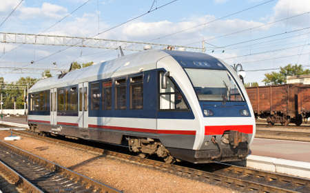 Modern railbus in Kremenchug, Ukraine Stock Photo - 13272470