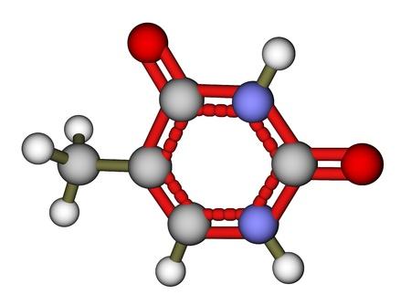 Nucleobase thymine balls and sticks molecular model Stock Photo - 13411810