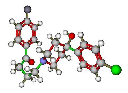 Antipsychotic haloperidol molecular structure. The drug used to treat schizophrenia and hallucinations Stock Photo - 13411814