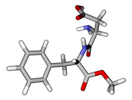 sugar metabolism: Optimized molecular structure of sweetener aspartame on a white background