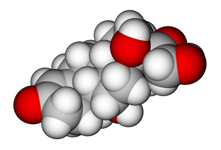 Hormone cortisol (hydrocortisone) space-filling molecular model photo