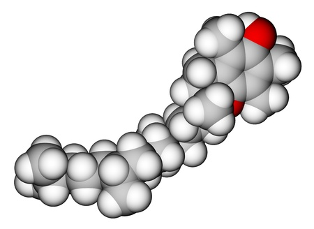 Alpha-tocopherol (vitamin E) space-filling molecular model photo