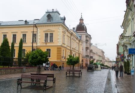 chernivtsi: Chernivtsi, Kobylianska street (pedestrian zone). Western Ukraine