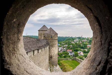 embrasure: View from the embrasure of a tower at Kamyanets-Podilsky fortress, Ukraine Editorial