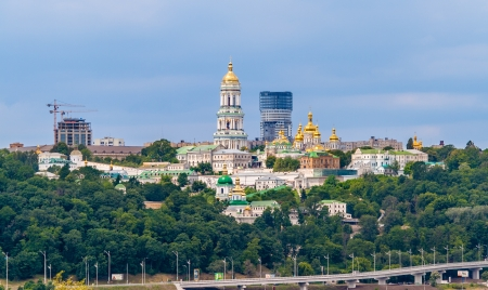 Kiev Pechersk Lavra Orthodox Monastery  View from the Paton Bridge  Ukraine photo