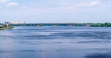 View of Dnieper river and Metro bridge in Kiev, Ukraine photo