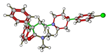 Loperamide, a diarrhea drug  3D molecular structure Stock Photo - 14552901