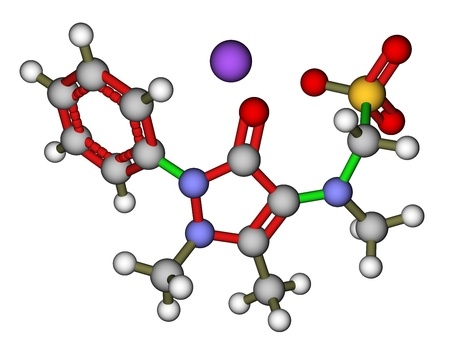 analgesic: Metamizole, an analgesic and antipyretic drug  3D molecular structure