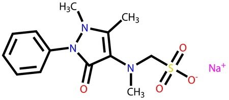 analgesic: Metamizole, an analgesic and antipyretic drug  Structural formula
