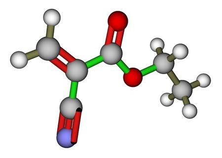 rubbery: Ethyl cyanoacrylate, an instant glue  3D molecular structure
