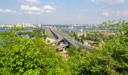 bridge footing: View of highway and railway bridges from a hill over the Dnieper river