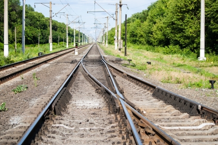 Railroad switch at a station Stock Photo - 14552916