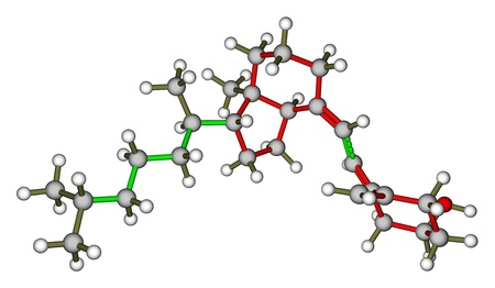 Optimized molecular structure of vitamin D3 (Cholecalciferol) on a white background photo
