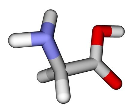 Amino acid glycine sticks molecular model photo