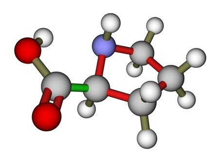 proline: Amino acid proline molecular structure Stock Photo