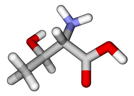 Essential amino acid threonine 3D molecular model photo