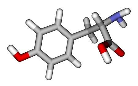 tyr: Amino acid tyrosine 3D molecular model Stock Photo
