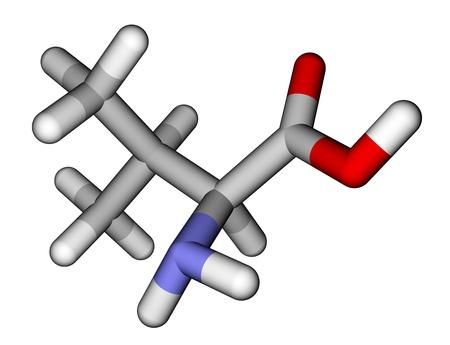 Essential amino acid valine 3D molecular model photo