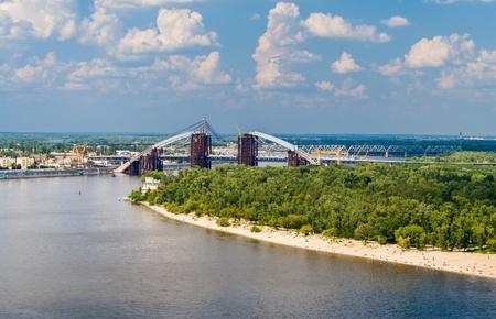 the dnieper: View of Dnieper river with bridges in Kiev, Ukraine